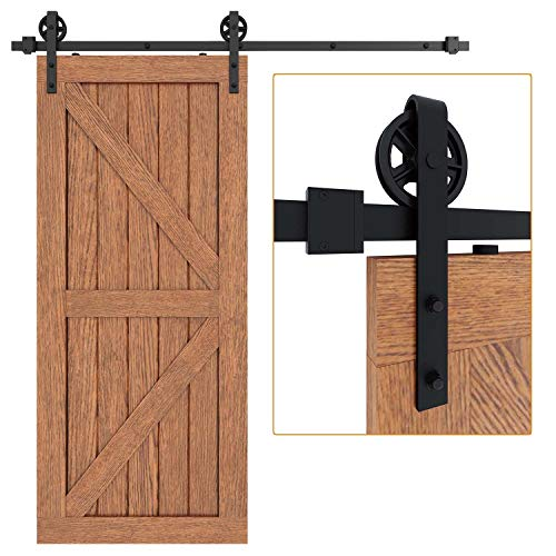 "EaseLife 6 FT Heavy Duty Big Wheel Sliding Barn Door Hardware Track Kit,Ultra Hard Sturdy,Slide Smoothly Quietly,Easy Install,Fit 30""~36"" Wide Door (6FT Track Single Door Kit)"