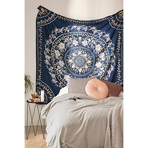 Simpkeely Blue Sketched Floral Medallion Tapestry, Bohemian Mandala Wall Hanging Tapestries, Indian Art Print Mural for Bedroom Living Room Dorm Home Décor 59.1x80 Inches(Royal Blue)
