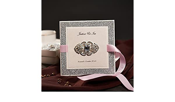 Amazon Com 50x Silver Invitations Cards Kit With Ribbon And