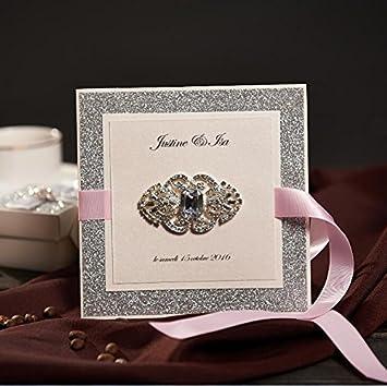Royal Hochzeit Einladungen Karten Glitzer Silber 50 Stück Kit Für Marriage  Verlobung Geburtstag Bridal Dusche Mit