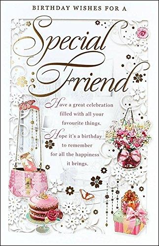 Amigo especial Tarjeta de cumpleaños - feliz cumpleaños rosa ...