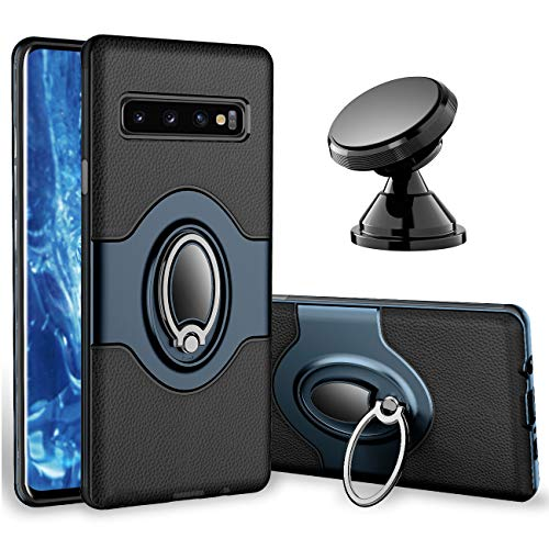 Samsung Galaxy S10 Plus Case - eSamcore Ring Holder Kickstand Cases + Dashboard Magnetic Phone Car Mount [Navy Blue]