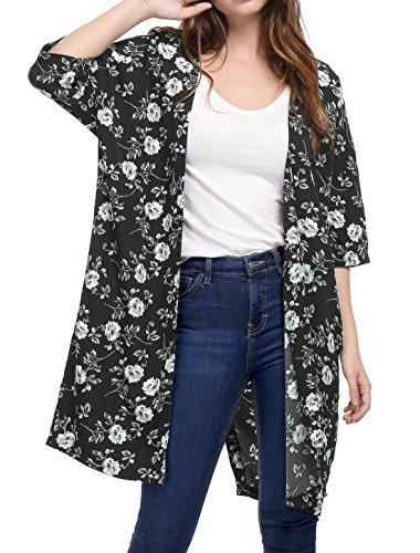 Allegra K Women's Half Sleeves Tulip Back Floral Long Kimono Cardigan XL Black
