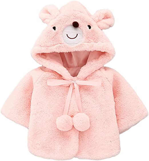 12-18 Months, Watermelon Red Gotd Newborn Baby Girls Autumn Winter Hooded Coat Cloak Jacket Thick Warm Clothes