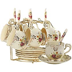Flowering Shrubs Tea Cups and Saucers Set,Ivory Ceramic Tea Cups Set,Pack of 6 with Golden Metal Rack