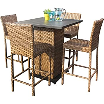 TK Classics LAGUNA PUB KIT 4 5 Piece Laguna Pub Table Set With Barstools  Outdoor Wicker Patio Furniture