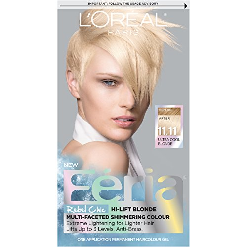 Blonde Feria Shimmer Hair Color - L'Oréal Paris Feria Multi-Faceted Shimmering Permanent Hair Color, 11.11 Icy Blonde (Ultra Cool Blonde) (1 Kit) Hair Dye
