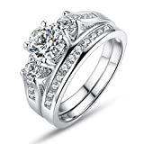 BAMOER 925 Sterling Silver Stackable Ring Set with Sparkling Cubic Zirconia Stones Engagement Wedding Bands Ring for Women Girls CZ Jewelry Ring Size 6