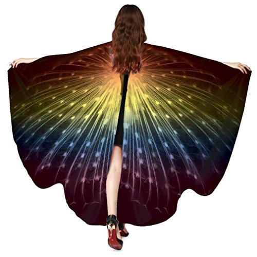 Women Butterfly Wings Cape Shawl Costume Mask for Ladies Halloween Dress Up Party (Peacock Rainbow)]()