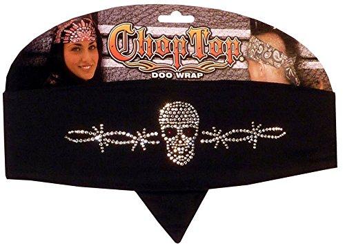 Rhinestone Chop Top Biker Style Headbands - Skull w/Barbed Wire