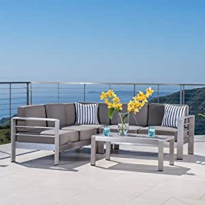 cape coral outdoor aluminum 4 piece sofa set with cushions by christopher knight. Black Bedroom Furniture Sets. Home Design Ideas