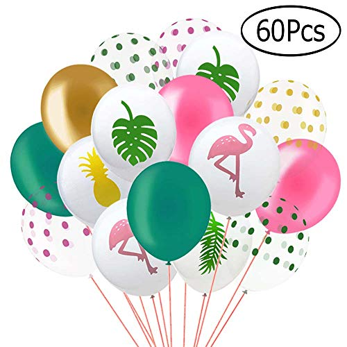 Aniann 60 Pack Hawaii Tropical Party Balloons, 12 Inches Flamingo Pineapple Tropical Leaf Round Dots Latex Party Balloons with Dots for Hawaii Luau Party Decorations Birthday Wedding Decorations -