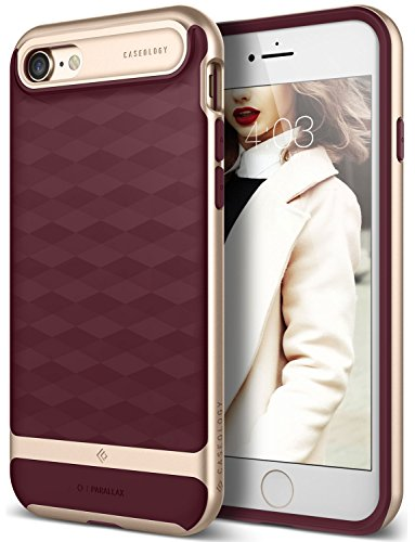 iPhone 7 Case, Caseology [Parallax Series] Modern Slim Geometric Design [Burgundy] [Textured Grip] for Apple iPhone 7 (2016)