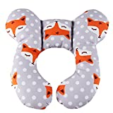Baby Travel Pillow - KAKIBLIN Infant Head and Neck Support Pillow for Car Seat - Pushchair (Gray Fox)