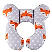 Baby Travel Pillow, KAKIBLIN Infant Head and Neck Support Pillow for Car Seat, Pushchair, for 0 - 1 Years Old Baby (Gray Fox)