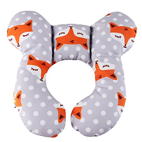 KAKIBLIN Baby Travel Pillow, Infant Head and Neck Support Pillow for Car Seat, Pushchair, for 0-1 Years Old Baby (Gray Fox) ()