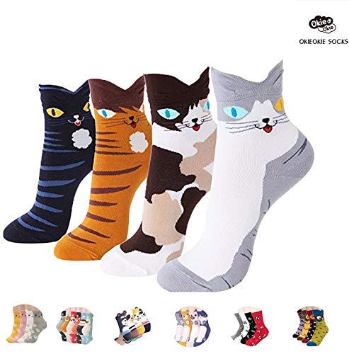 OKIE OKIE Womens Best Socks Gift Set-Cute Animals Art Cartoon Character Funny Novelty Crew (Animal - Cute Cat 4pcs)
