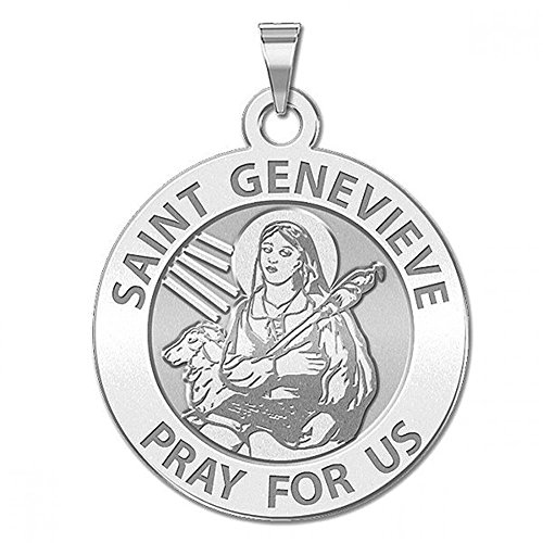 Saint Genevieve Round Religious Medal - 2/3 Inch Size of Dime, Sterling Silver - Genevieve Medal Pendant