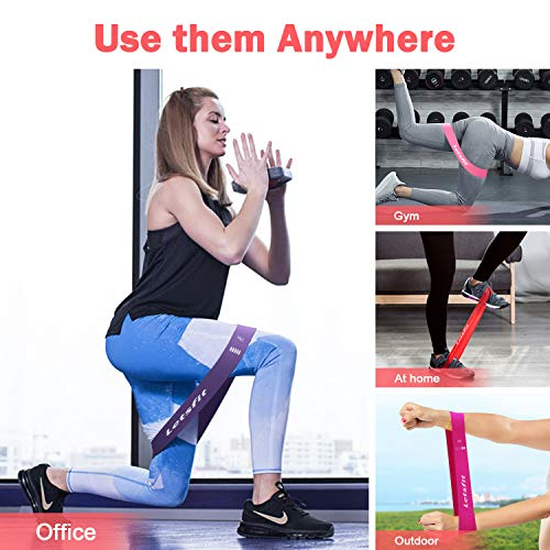 """Letsfit Resistance Loop Bands, Resistance Exercise Bands for Home Fitness, Stretching, Strength Training, Physical Therapy, Natural Latex Workout Bands, Pilates Flexbands, 12"""" x 2"""""""