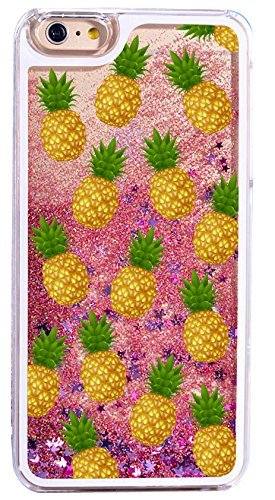 DECO FAIRY Compatible with iPhone 8 / 7, Glitter Bright Yellow Pineapple Sparkling Pink Purple Glitter Hard Fruit Salad Delicious Treat Pineapple Lover Series PVC Hard Case -