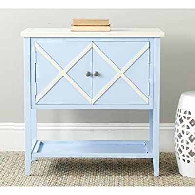 Safavieh American Homes Collection Polly Light Blue Sideboard - The light blue and white finish of this sideboard will create a perfect accent to your home This sideboard will add a fresh accent to your home Crafted of solid poplar wood - sideboards-buffets, kitchen-dining-room-furniture, kitchen-dining-room - 51MnAL1bXEL. SS400  -