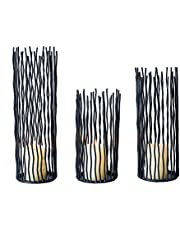Lovecat Set of 3 Modernist Metal Seagrass Candlestick Holders, Black Household Pillar Candle Holders, New Classic Wedding Decor Tealight Holders(Set of 3)