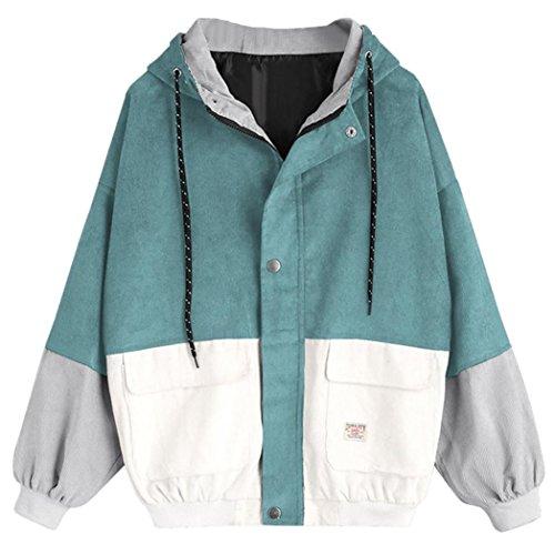 USHOT Women Coat, Women Corduroy Patchwork Zipper Hooded Windbreaker Coat Outwear (Blue, S/US 4) ()