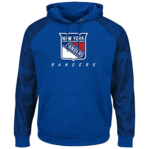 VF LSG NHL New York Rangers Men's Penalty Shot Long Sleeve Fleece Hoodie, Medium, Deep - Rangers Hoodie Sweatshirt