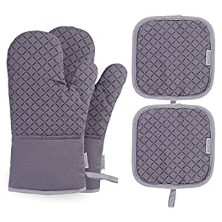 BESTONZON 4PCS Heat Resistant Oven Mitts and Pot Holders, Soft Cotton Lining with Non-Slip Surface for Safe BBQ Cooking Baking Grilling