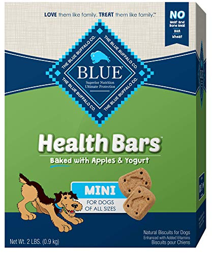 Blue Buffalo Health Bars Mini Natural Crunchy Dog Treats Biscuits, Apple & Yogurt 32-oz box