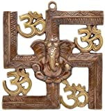 Wall Hanging Of Lord Ganesha On Swastik With Om Showpiece - 22.86 cm