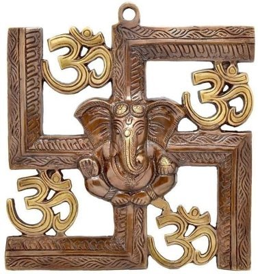 Wall Hanging Of Lord Ganesha On Swastik With Om Showpiece - 22.86 cm by AG