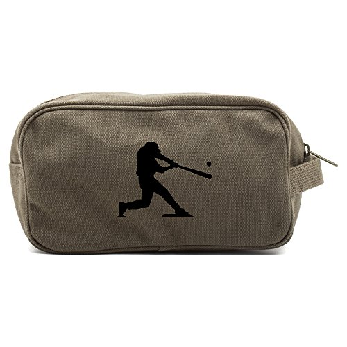 Baseball Player Canvas Shower Kit Travel Toiletry Bag Case in Olive