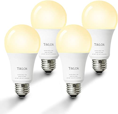Smart LED Light Bulb, TIKLOK WiFi Dimmable Soft White A19 E26 Bulb, Compatible with Alexa and Google Home, 2700K 60W Equivalent, Easy Setup Control, No Hub Required 4 Pack