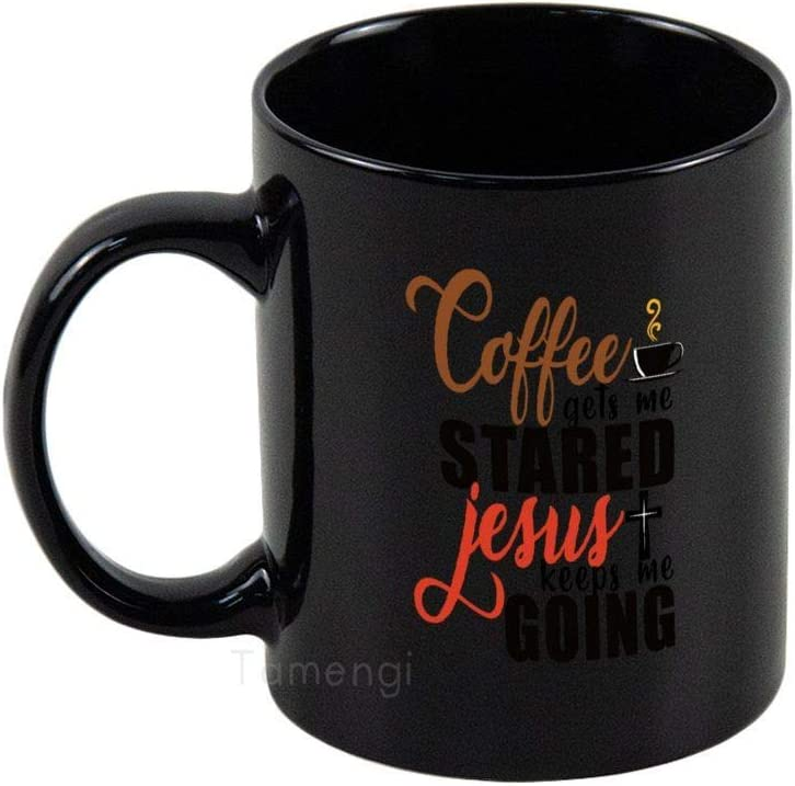 Coffee Gets Me Started Coffee Mug Classic Ceramic Mugs with Handle, 11oz Coffee Tea Cup for Office and Home