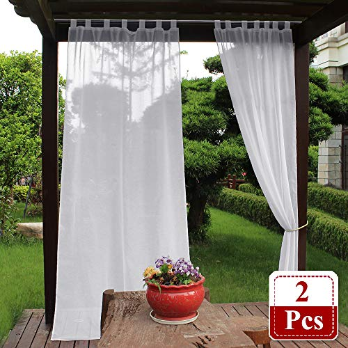 NICETOWN Outdoor Sheer Curtains for Pergola - Semi Sheer Outdoor Curtains with Rope Tie Backs for Cabana & Canopy, Porch Curtain (Set of 2, 54 inches Wide by 108 inches Long, White) (Semi Outdoor Sheer Curtains)
