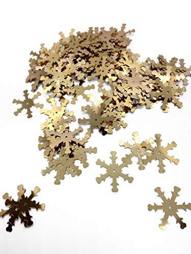 Snowflake Sequins Gold Color 10gr (Aprox 180pcs) Snow Flake ()