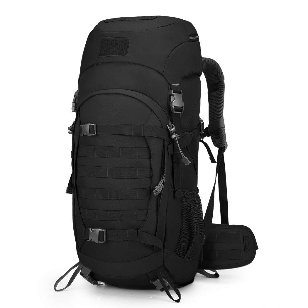 50Lアウトドアキャンプハイキングバッグ、男性と女性のバックパック旅行バッグ、大容量移動ダッフルバッグ、テントバッグ戦術的な山旅行バックパックZDDAB B07QQRMB3Z Black