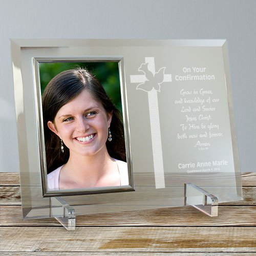 Personalized Confirmation Glass Picture Frame, Holds A 4