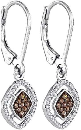 10kt White Gold Brandy Diamond Chocolate Brown Diamond Lovely Diamond Shaped Dangle Earrings 1/3 Ctw.