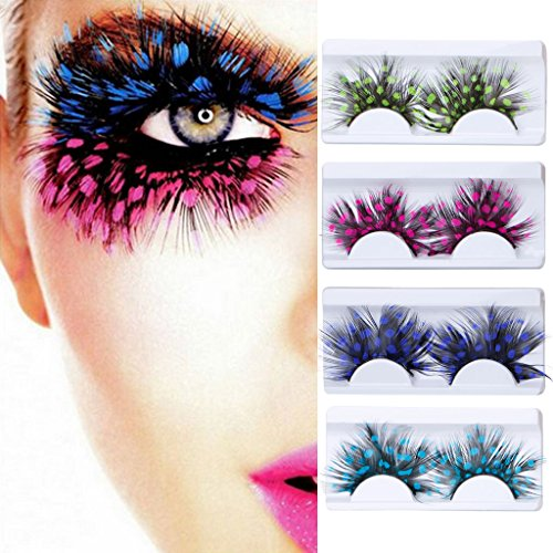 YXTech 1 Pair False Eyelashes Feather Cosmetic Party Colorful Eye Lashes (#01)