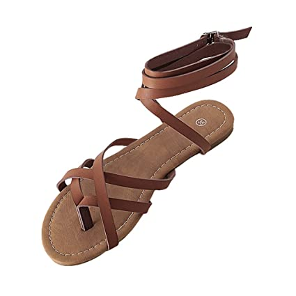 a16ee0b545fb Amazon.com  Staron Women s Gladiator Lace Up Flat Sandals Flats Breathable  Shoes Open Toe Buckle Strap Ladies Sandals  Kitchen   Dining