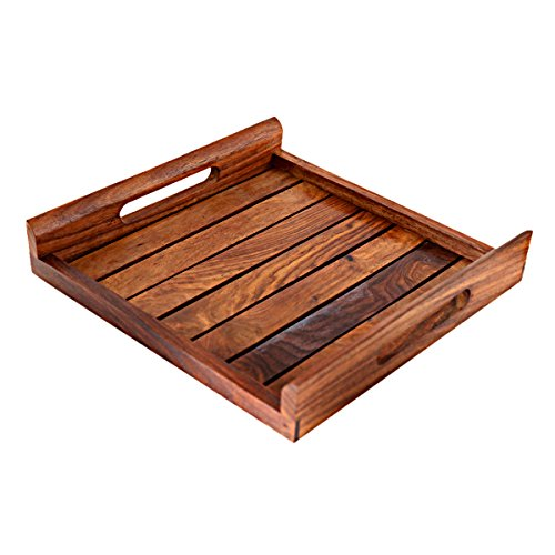 Hashcart Indian Rosewood Sheesham Wood Handmade & Handcrafted Wooden Serving Tray for Dining Tableware, Table Decor, Kitchen Serveware Dining Accessory,Breakfast Coffee Table Tray,Butler Serving Tray - Tableware