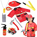 Qunan Fireman Costume Fire Chief Dress Up Pretend Role Play Kit Set with Rescue Tools Fire Fighter Outfit Fireman Toys Halloween Costume for Kids Boys Toddler Children