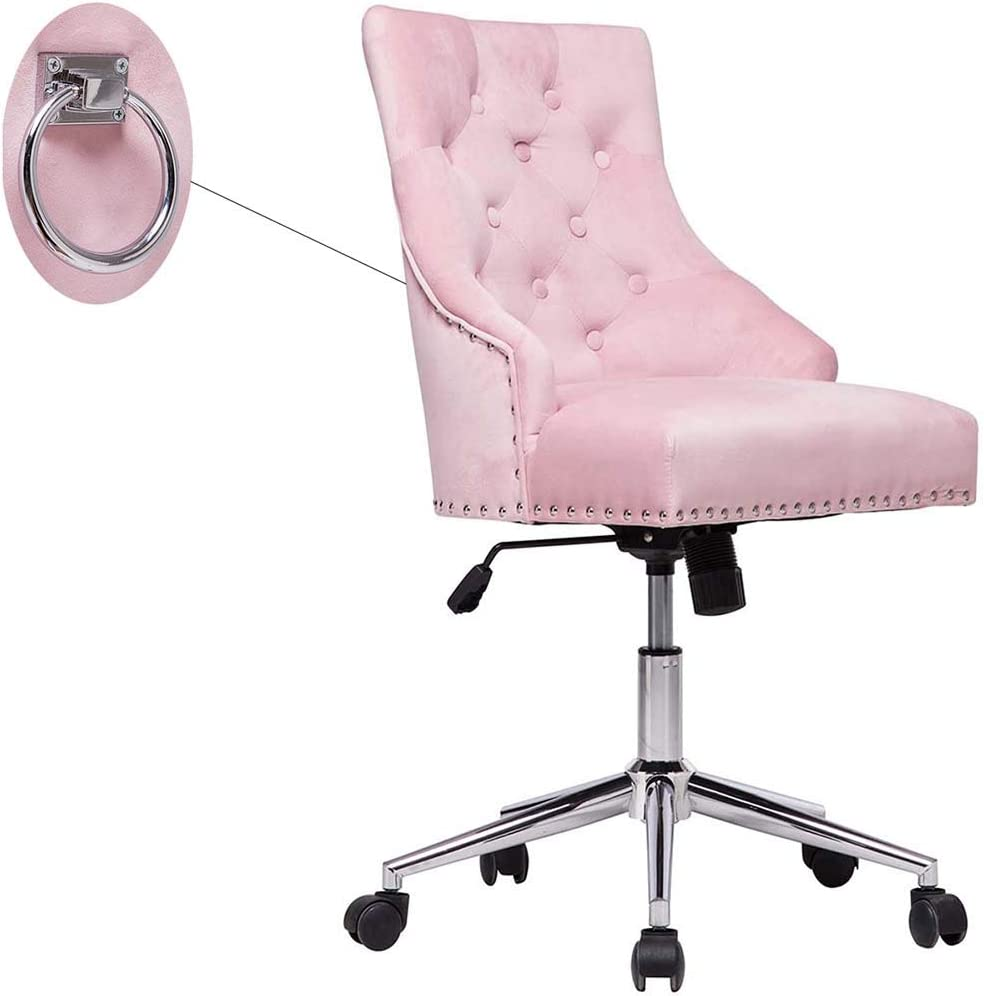 Cute Pink Tufted Velvet Computer Desk Chair Swivel Adjustable Nailhead Trim Home Office Chair Executive Chair w/Soft Seat and Pull Ring Easy to Move