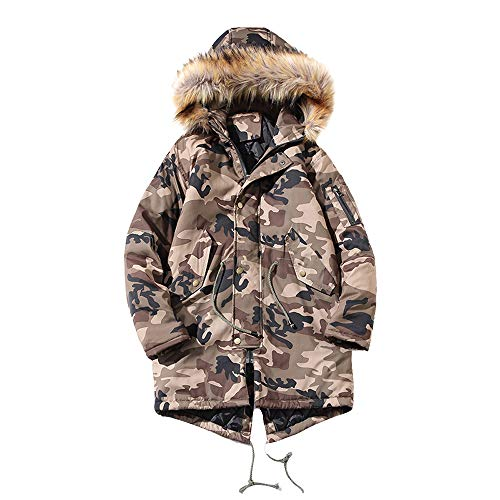Franterd Men Camouflage Coat Autumn Winter Drawstring Hooded Jacket with Pocket Keep Warm Thicken Coat Pullover