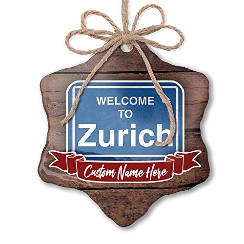 (NEONBLOND Custom Family Ornament Sign Welcome to Zurich Personalized)