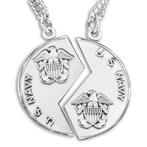 - TrueFaithJewelry Sterling Silver Two Piece Mizpah United States Navy Medals Pendant Set, 1 1/8 Inch