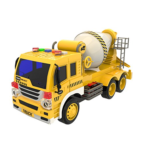 Cement Mixer Truck Toys Construction Toys Friction Powered Truck with Light and Sound, Birthday Gifts for Kids ( Batteries Included )