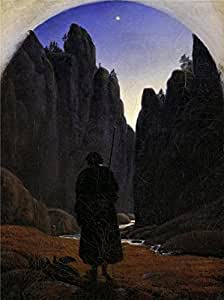 Oil painting 'Carl Gustav Carus-Pilgrim in a Rocky Valley,1820' printing on Linen Canvas , 8x11 inch / 20x27 cm ,the best Laundry Room gallery art and Home gallery art and Gifts is this High Definition Art Decorative Prints on Canvas